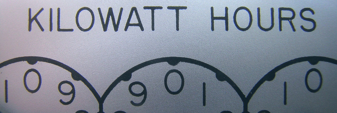 "Photo of an electric meter reading ""Kilowatt Hours"""